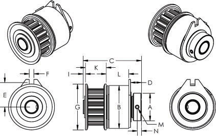 2393 Tiny-Clutch, Magnetic Pulley Clutch, Kwik-Way Products 794-8687-38, Dimensions